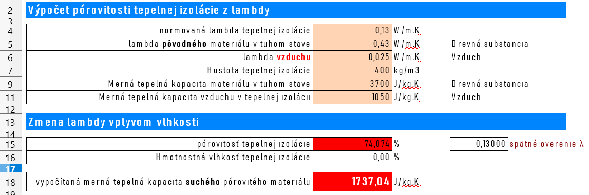 Porovnanie pórovitosti z hodnôt lambda a výpočet mernej tepelnej kapacity
